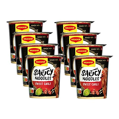 Maggi Magic Asia Saucy Noodles Sweet Chili Cup, 8er Pack (8 x 75g)