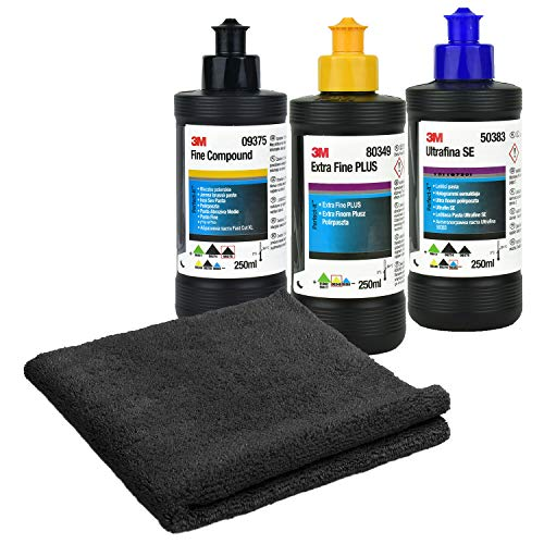 3M Fine Compound 250ml + 3M Ultrafiner Compound 250ml + Extra Fine Plus 250ml + Microfaser Polier- und Trockentuch Set | 4-teilig