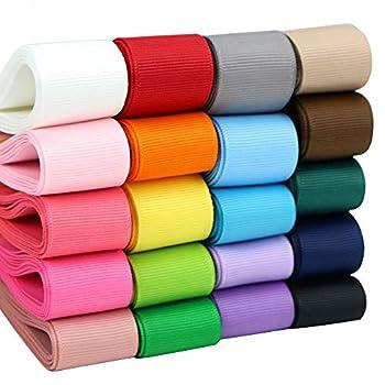 Midi Ribbon Grosgrain Ribbon 1 inch Ribbon 20 Solid Color Ribbon Assortment 1  X 2 Yard Each Total 40 Yds Per Package Wide Ribbon Thick Ribbon Fabric Ribbon Ribbons for Crafts Ribbons for Hair