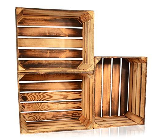 CHICCIE 3 Set Geflammte Obstkisten - 50 x 40 x 30cm Holzkisten Weinkisten Holz Kisten Apfelkisten Obstkiste Gebrannt