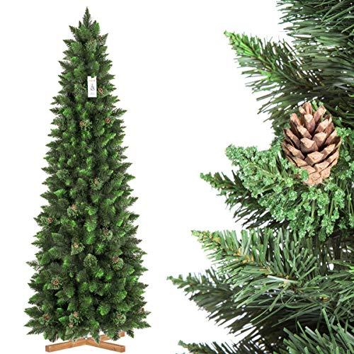 FairyTrees Árbol de Navidad Artificial Slim, Pino Natural Verde, Material PVC, Las piñas verdaderas, el Soporte de Madera, 220cm, FT08-220