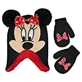 Disney Girl Winter Hat Set, Minnie Mouse Kids Beanie and Gloves 4-7, Red Design, Mittens - Age 2-4