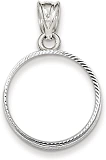 14k White Gold Prong 1/10ae Bezel Necklace Pendant Charm Coin Holders/bezel American Eagle Fine Jewelry Gifts For Women For Her