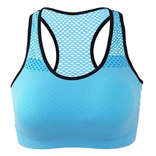 Jtoony Brasier deportivo para mujer, espalda cruzada, brasier deportivo sin alambres, acolchado para yoga, entrenamiento, gimnasio, ropa deportiva (tamaño: L; color: azul)