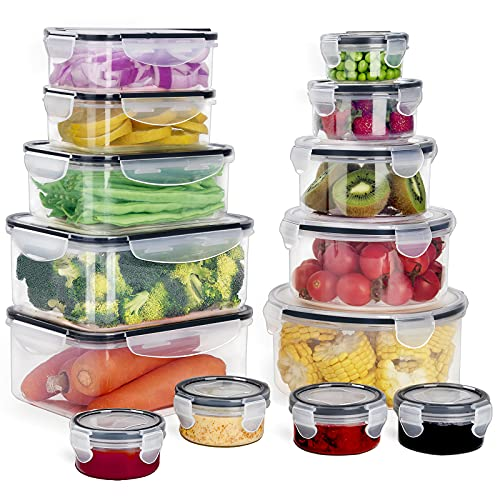 GoMaihe Recipientes de Plástico Alimentos 28 Pieza (14 envase, 14 Transparente Tapa) Juego De Contenedores Herméticos, Loncheras Sin Bpa, Aptas para Lavavajillas, Aptas para Microondas, Congelador