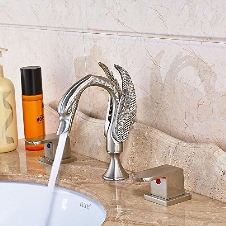 Swan Stil Badezimmer Dual Waschtischmischer Wasserhahn kreatives Design Dual Griff Waschbecken Wasserhahn weit verbreitet 3 Lcher