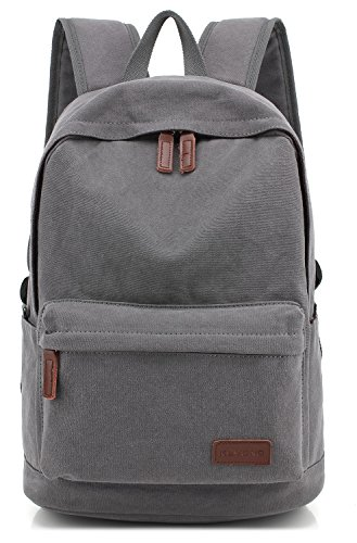 KAYOND Casual Style Lightweight canvas Laptop Bag/Durable Travel backpacks/Rucksack for Men&Women/Fashion Backpack Fits 15 inch Notebook (Gray)