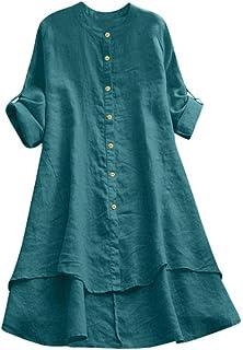 kolila Women's Linen Shirts Irregular Loose Fit Button Down Soild Color Cotton Tunic Blouses Long Tunic Tops for Leggings