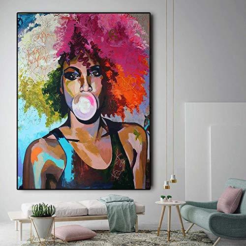 Abstract vrouwenolieverfschilderij van het kauwgom meisje Afrikaanse op canvasposters en frameloos schilderij van de Scandinavische muurkunstbeeld-woonkamer