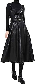 فستان نايت كلوزت بانك روك للنساء من جلد البولي يوريثان فساتين بسحاب أسود