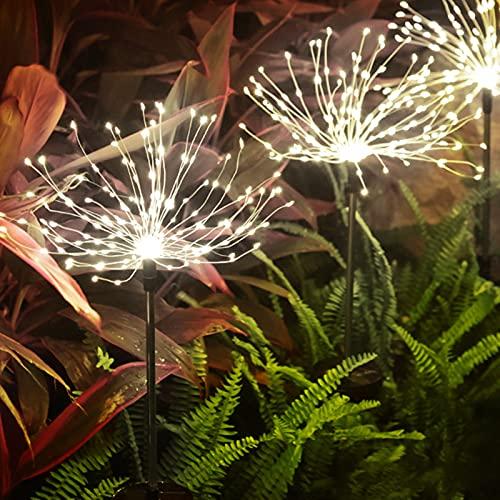 otutun Luces solares de fuegos artificiales,Cadena de luces de diente de león luces solares para exteriores alambre de cobre luces impermeables, luces Starburst jardín césped luces decorativas
