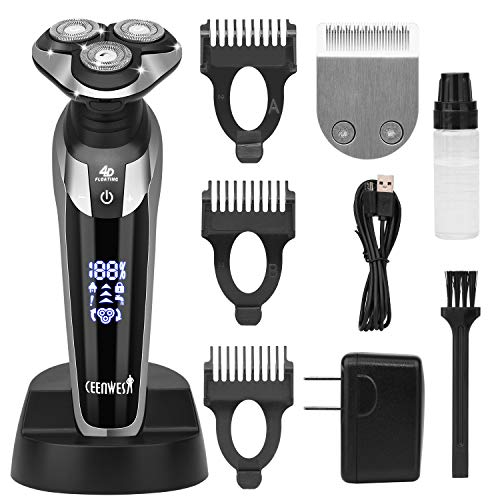Ceenwes Electric Razor for Men 2 in 1 Rechargeable Electric Shaver Cordless Hair clippers Beard Trimmer Waterproof Wet & Dry Rotary Shavers