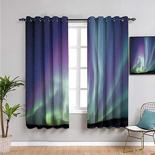 Pcglvie aurora borealis Heat Insulation Curtain, Curtains 84 inch length exquisite atmosphere solar starry sky calming night image Reduce light mint green dark blue violet W108 x L84 Inch