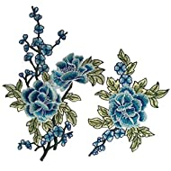 Flowers Embroidered Patch Sticker for Clothing Jacket Jeans Lace Applique DIY Clothes Decorations Fabric Patches (Color A Blue)
