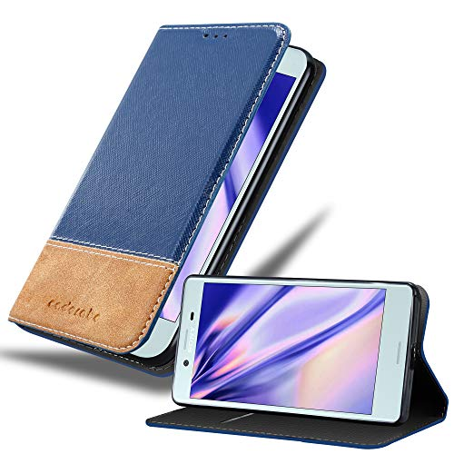 Price comparison product image Cadorabo Book Case Works with Sony Xperia X Compact in Dark Blue Brown with Magnetic Closure,  Stand Function and Card Slot Wallet Etui Cover Pouch PU Leather Flip
