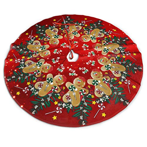 48' Christmas Tree Skirt, Gingerbread Christmas Sweets Red Pattern Large Tree Mat Base Cover for Xmas Festive Holiday Party Decoration Ornaments