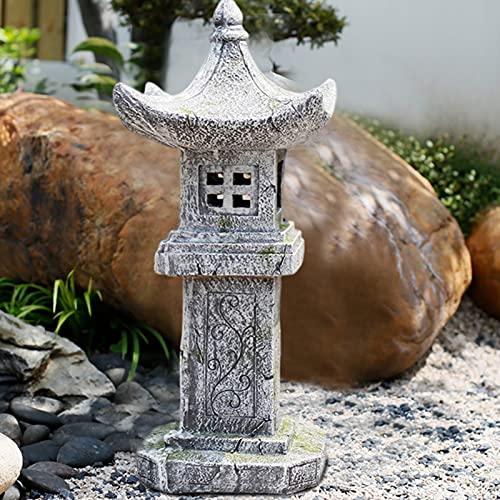 CHHD Pagoda de Linterna de jardín Solar Zen de Estilo japonés, decoración asiática Zen para el Arte del Patio de la Cubierta del jardín del hogar, decoración del Patio Chino