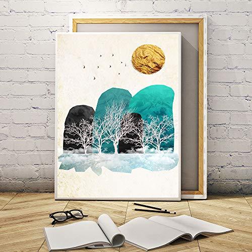 Scandinavische stijl canvas muurkunst drukposter landschap goud lijn schilderij decoratie afbeelding decoratie
