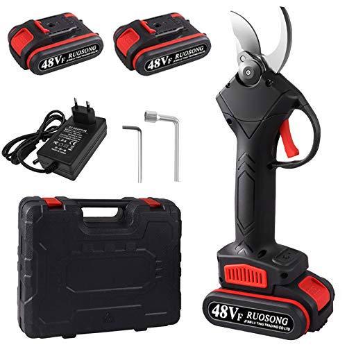 Secateur Electrique, Secateur Electrique sans Fil pour parc familial de verger, Avec 2 batteries, 1 Boîte, 2 Outils de remplacement de lame et un chargeur standard...