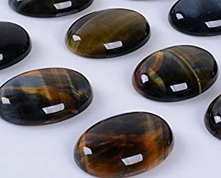 Natural Gemstone Oval Cabochon CAB Flatback Semi-Precious Ring Face Loose Beads,DIY (Blue Tiger Eye, 25x18mm)