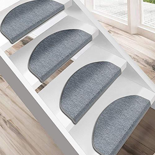uyoyous 15 Stück Teppich Stufenmatten Treppenstufen Treppenteppiche Halbrund mit Unsichtbarem Kiel Schutz der Treppenränder Magic Buckle Patch, Waschbar(Grau) ca. 65X24X3cm