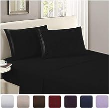 Mellanni Luxury Flat Sheet - Brushed Microfiber 1800 Bedding Top Sheet - Wrinkle, Fade, Stain Resistant - Ultra Soft - Hypoallergenic - 1 Flat Sheet Only (King, Black)