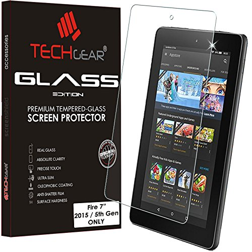 TECHGEAR Vidrio Compatible con Amazon Fire 7' 2015 Tablet - Auténtica Protector de Pantalla Vidro Templado (No para Amazon Fire 7' 2017)