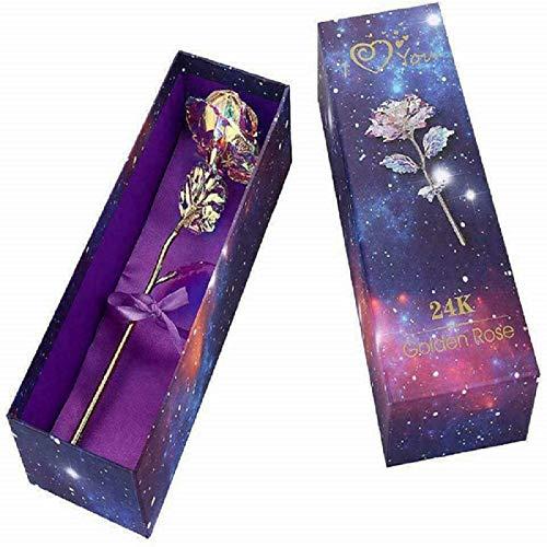 Bnrsyku Base de Rosas de Metal, 24K Conjunto de Fores Rosas Romántico Exquisito con Caja de Regalo, Amantes del día de San Valentín (A, Flor Rosa)