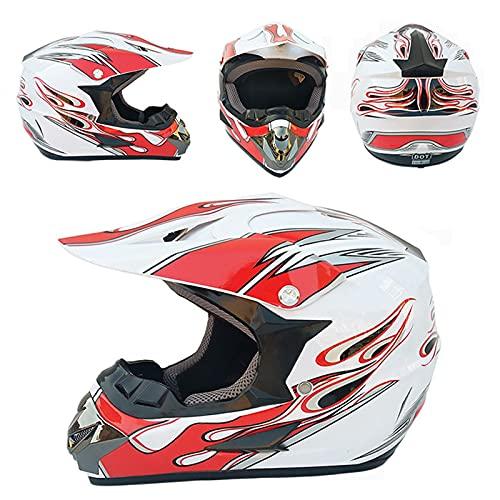 Offroad Casco da motocross, rosso e bianco, per bambini, con occhiali ATV, con certificazione DOT (rosso, bianco, L (59-60 cm)