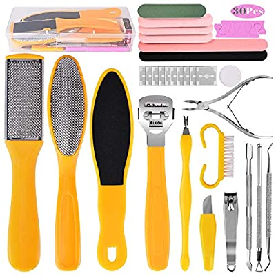 Foot File Pedicure Set, 30 in 1 Foot Files Foot Care Scrubber Kit Hard Skin Remover Feet Scrub for Women Men Salon or Home by whpawh