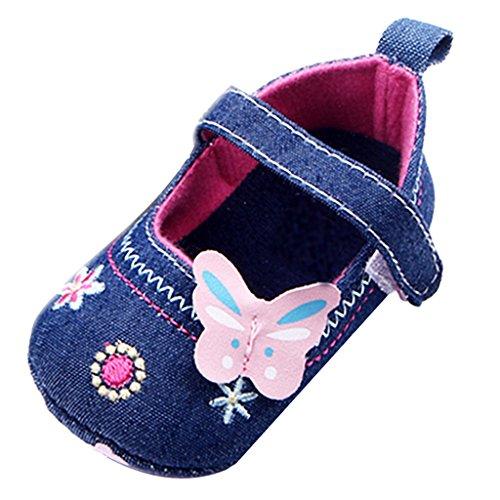 dailymall Zapatos de Bebé Niñas Mariposa Prewalker Recién Nacido Suela Blanda Zapatos de Cochecito para Niños Pequeños - Azul, 9-12 meses