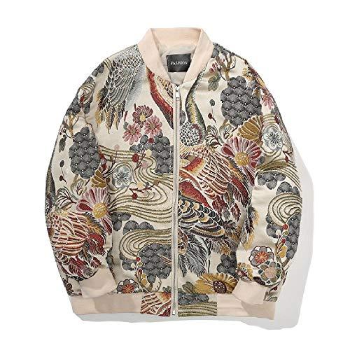 NOBRAND Herren-Bomberjacke, japanische Mode-Jacke für Herren, Stickerei, Übergröße, lässig, Hip Hop Streetwear Gr. XXXXX-Large, siehe abbildung