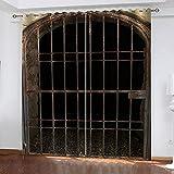 LWXBJX Opacas Cortinas Dormitorio - Puerta de Hierro Retro -...