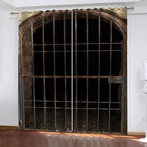 MXYHDZ Cortinas Opacas de Salon - Puerta de Hierro Retro Impresión 3D, Dormitorio Aislantes Termicas con Ollaos - 160 x 160 cm para Oficina y salón, Dormitorio habitación de los niños, 2 Piezas