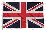 Bandiera Regno Unito 150x100cm in tessuto nautico antivento da 115g/m²,bandiera UK 150x100 lavabile, Bandiera Gran Bretagna 150x100cm con cordino,doppia cucitura perimetrale e fettuccia di rinforzo