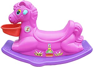 Rocking Horse Plastic Children's Toy Trojan Baby Age Gift Thicken Indoor Rocking Chair Baby Trojan (Color : Pink) XIUYU (Color : Purple)