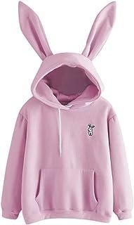 Women Hoodie Long Sleeve Rabbit Hoodie Sweatshirt Bunny Ear Cute Pullover Tops for Autumn Winter New Girls Hoodie Casual W...