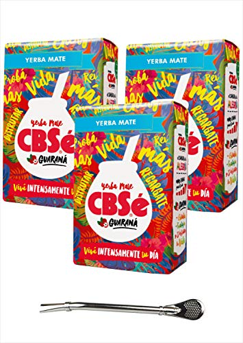 CBSé Mate Tee Energia - mit Guaraná, 3er Pack (3 x 500 g) + Bombilla