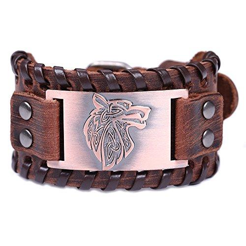 Vintage Nordic Fenrir Viking Wolf Kopf skandinavischen Talisman Metall braun Leder Handgelenk Armband für Männer (braunes Leder, antikes Kupfer)