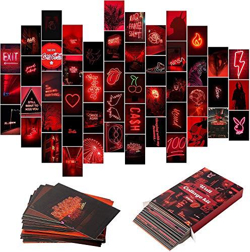 BeYumi 50 Stück Rot Neon Ästhetische Bilder Wand Collage Kit, Neon Red Fotos Sammlungen Wohnheim Dekore für Teenager Mädchen und Jungen, Trendy Wanddruck Kit, Kleine Poster für Zimmer Schlafzimmer