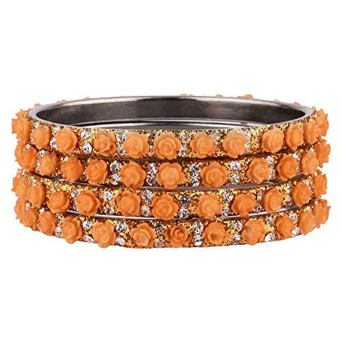 Efulgenz Indisches Armreif-Set, Bollywood-Stil, Strass, gelbe Kristalle, Brautschmuck-Armband-Schmuck-Set für Frauen Mädchen (4 Stück)