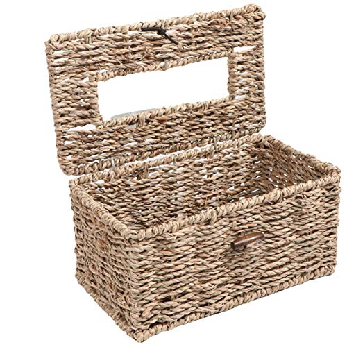 Cabilock Straw Woven Wicker Rectangular Tissue Box Cover Rectangle Straw Tissue Box Basket Holder Retro Tissue Container Dispenser