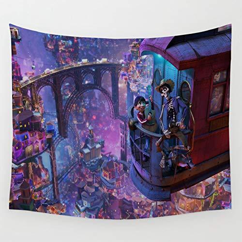 Tapiz para colgar en la pared de dibujos animados Coco películas Miguel Héctor Tocando la guitarra en el balcón Sala de estar y Dormitorio 210x150cm