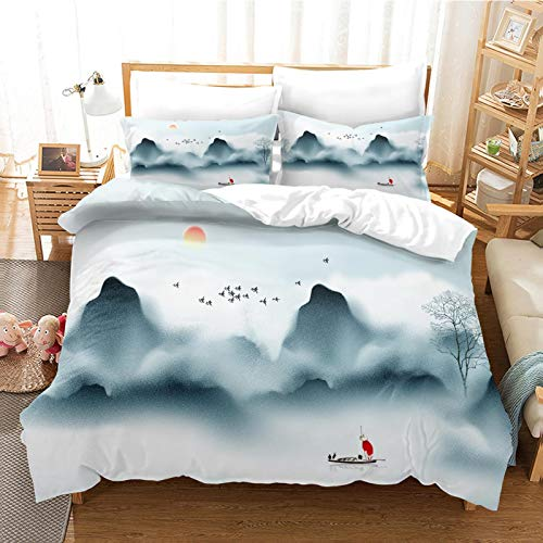 CLQPYQ King Size Bedding Duvet Covers Set For Teenage - 100% Brushed Microfiber Ink Painting Sunrise Landscape Duvets Cover Sets 230X220cm With 2 Pillowcases, Super Soft Fluffy Home Bedding Set Quilt
