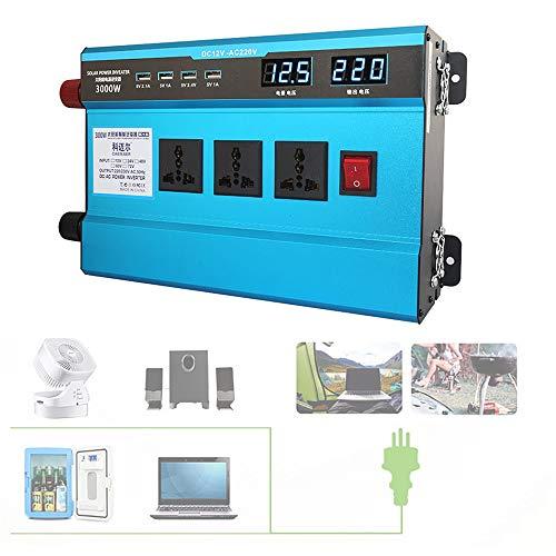 Auto Wechselrichter mit LCD-Digitalanzeige, 12 V / 24 V / 48 V / 60 V zu 220 V / 230 V Wechselstrom, Kfz-Steckdosenadapter zum Laden im Freien,3000W(12Vto220V)