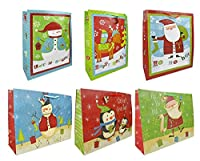 ジャンボクリスマス/ホリデーギフトバッグ6枚セット 巨大な紙 24インチx18インチx7インチ サンタ/雪だるま/ペンギンデザイン