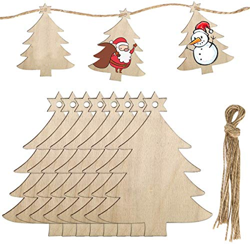 MELLIEX 40 Pieces Wooden Hanging Ornaments for Christmas Decorations, DIY Unfinished Wood Crafts Cutouts with 40 Twines for Xmas Tree Hanging Ornaments Gift Tag