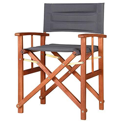 Casaria Gartenstuhl Cannes FSC®-zertifiziertes Eukalyptusholz gepolstert faltbar Klappstuhl Holz Stuhl Regiestuhl Anthrazit