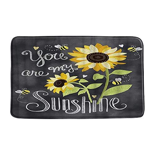 AMHNF Sunflower Bath Mat You Are My Sunshine Sunflower Bee Funny Quote Rustic Bathroom Microfiber Memory Foam Bathroom Decor Rug Non Slip Absorbent Doormat Kitchen Toilet Floor Rug,19.7' x 31.5'