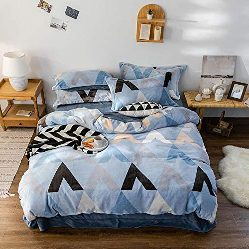 Shinon king size duvet cover sets-Autumn and winter plus fleece four-piece flannel double-sided fleece thick duvet cover bed linen-X_1.8m bed (4 pieces)